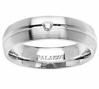 Round Diamond Men's Palladium Wedding Ring