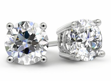 Round Diamond Stud Earrings for Women - click to enlarge