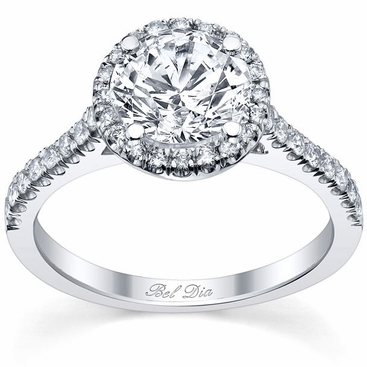 Round Halo Engagement Ring with Pave Accents - click to enlarge