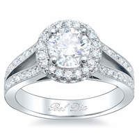 Round Halo Engagement Ring with Split Shank