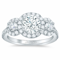 Round Halo Three Stone Ring