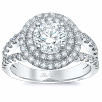 Round Low Split Double Halo Engagement Ring