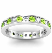 Round Peridot and Diamond Eternity Ring in Channel Setting