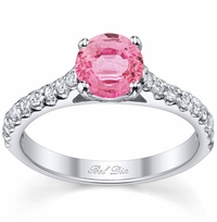 Round Pink Sapphire Engagement Ring with Accents
