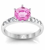 Round Pink Sapphire Engagement Ring with Channel Set Band