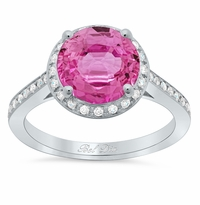 Round Pink Sapphire Halo Engagement Ring