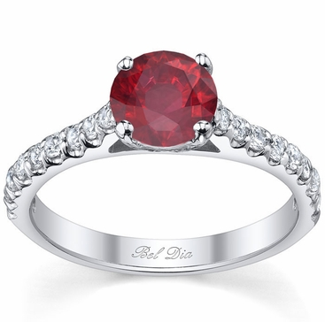 Round Ruby Engagement Ring with Diamonds - click to enlarge