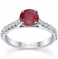 Round Ruby Engagement Ring with Diamonds