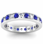 Round Sapphire and Diamond Eternity Ring in Channel Setting