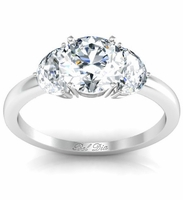 Round Three Stone Engagement Ring with Half-Moons