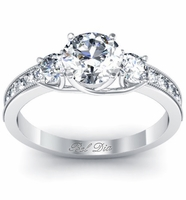 Round Three Stone Engagement Ring with Milgrain and Accent Diamonds