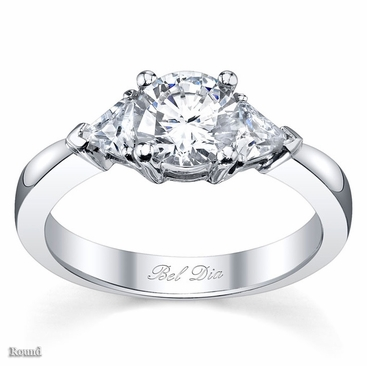 Three Stone Engagement Ring with Trillions - click to enlarge