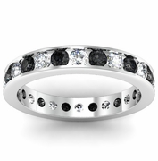 Round White and Black Diamond Eternity Ring in Channel Setting