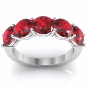 Ruby Birth Stone Ring 3 Carat Round Brilliant Cut