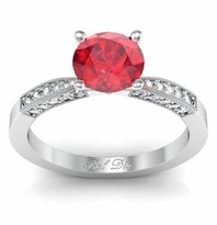 Ruby Engagement Ring with Tapered Milgrained Band