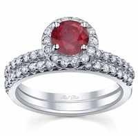 Ruby Halo Wedding Set