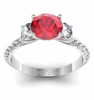 Ruby Knife Edge Three Stone Engagement Ring