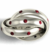 Ruby Puzzle Ring in Gold or Platinum