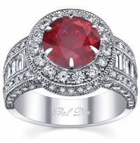 Ruby Round Halo Engagement Ring