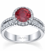 Ruby Round Halo Ring with Baguettes
