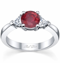 Ruby Three Stone Ring with Trillions