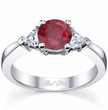 Ruby Three Stone Ring with Trillions - click to enlarge
