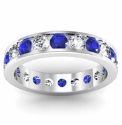 Sapphire and Diamond Round Gemstone Eternity Ring in Channel Setting