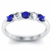 Round Brilliant Diamond and Sapphire Ring