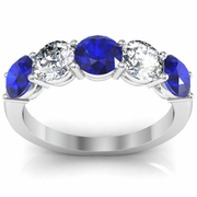 Sapphire Ring with Round Brilliant Cut Diamonds 2.00 cttw