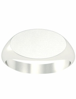White Gold Signet Ring Oval Shaped