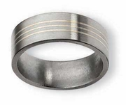 Silver Inlay Titanium Mens Ring Matte Finish in 8mm