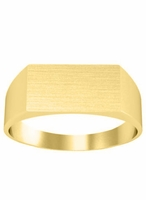 Simple Yellow Gold Engraved Signet Rings