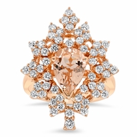 Snowflake Halo Engagement Ring for Pear Morganite