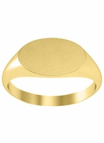 Solid Back Oval Signet Rings Gold