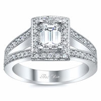 Split Shank Antique Style Halo Engagement Ring
