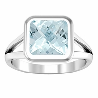 Split Shank Cushion Aquamarine Bezel Set Engagement Ring