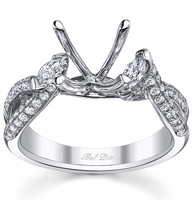 Twisted Shank Three Stone Engagement Ring Setting with Marquise Diamonds