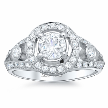 Split Shank Halo Engagement Ring - click to enlarge