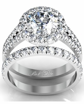 Split Shank Halo Engagement Ring and Matching Wedding Ring