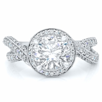 Split Shank Halo Engagement Ring with Mobius Twist