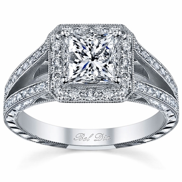 Split Shank Halo Setting Princess Cut - click to enlarge