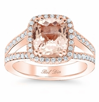 Split Shank Morganite Halo Engagement Ring