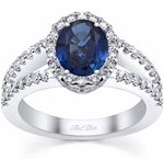 Split Shank Oval Blue Sapphire Halo Engagement Ring