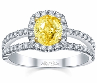 Split Shank Oval Canary Diamond Ring