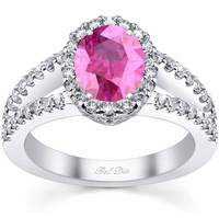 Split Shank Oval Pink Sapphire Halo Engagement Ring