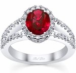 Split Shank Oval Ruby Halo Engagement Ring