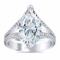 Split Shank Pave Diamond Marquise Engagement Ring