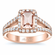 Split Shank Pave Diamond Morganite Halo Engagement Ring