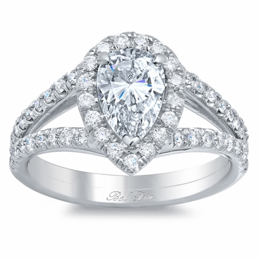 Split Shank Pear Shaped Engagement Ring - click to enlarge