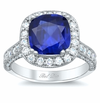 Square Halo Setting with Milgrain for Blue Sapphire